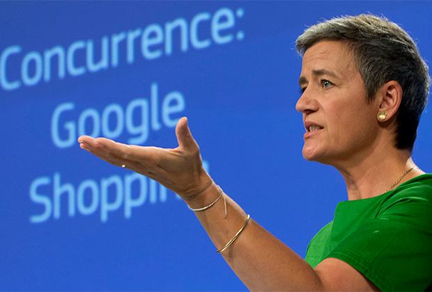 European Union Commissioner for Competition Margrethe Vestager speaks during a media conference at EU headquarters in Brussels on Tuesday, June 27, 2017. The European Union's competition watchdog has fined internet giant Google over its online shopping service.