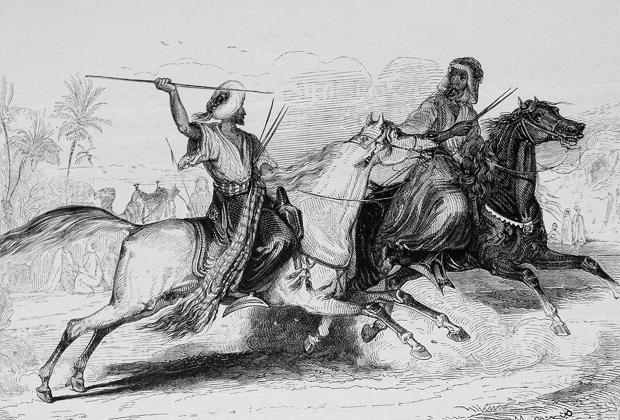 Воин-мамлюк сражается с арабским всадником