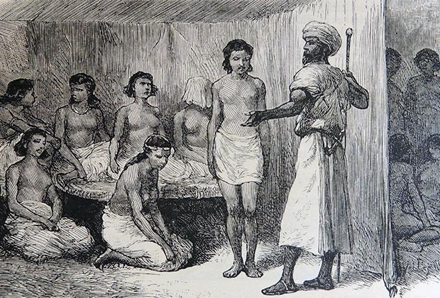 Абиссинских женщин продают в рабство в Судан, XIX век