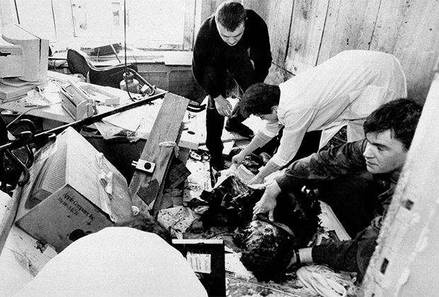 Место взрыва бомбы в редакции «Московского Комсомольца», при котором погиб Дмитрий Холодов
