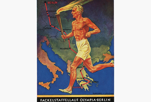 Эстафета Олимпийского огня впервые прошла в 1936 году. На открытке путь олимпийского огня из Афин в Берлин