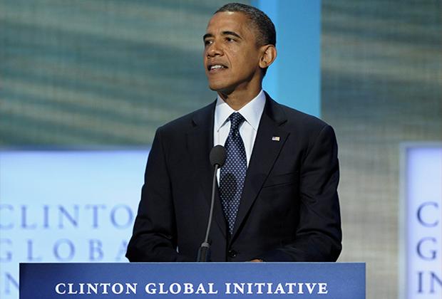 Президент США Барак Обама выступает во время ежегодной встречи Глобальной инициативы Клинтона (CGI) в Нью-Йорке, 25 сентября 2012 года