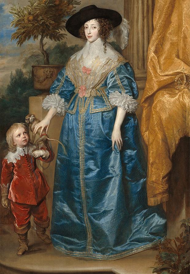 Генриетта Мария со своим придворным карликом Джеффри Хадсоном