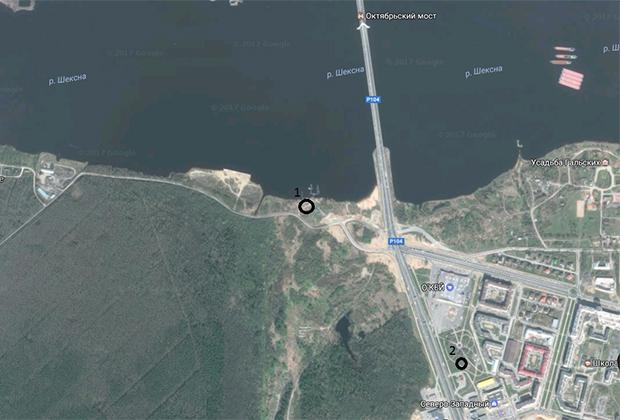 Точка №1 — примерное место обнаружения тела Натальи Закаловой (11 июня 2007 года). Точка №2 — примерное место обнаружения тела Светланы Филюк (лето 2012 года).