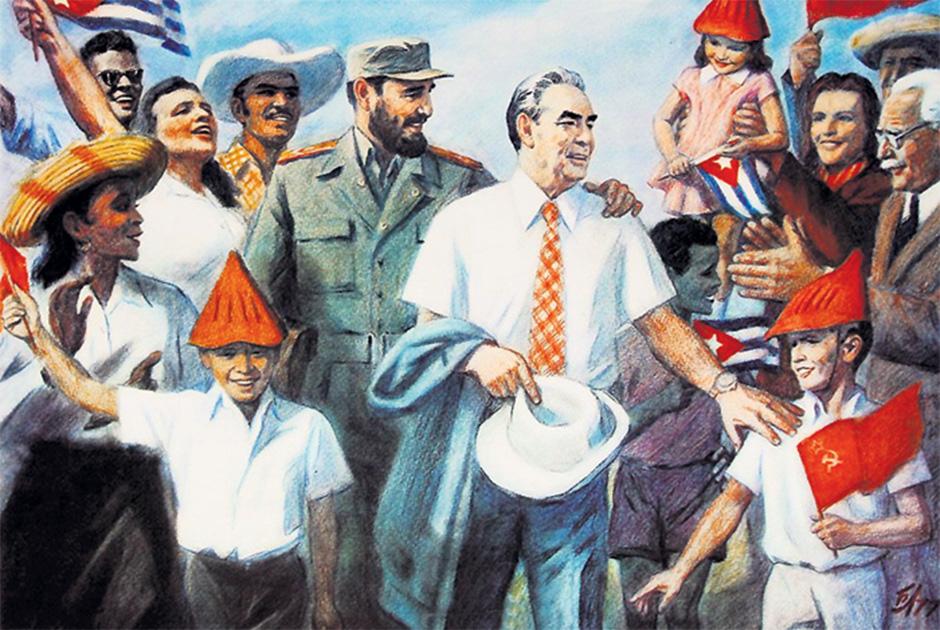 Постер, изображающий встречу Леонида Брежнева и Фиделя Кастро на Кубе в 1974 году
