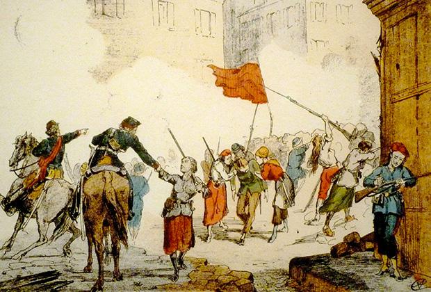 Женщины обороняют баррикаду на площади Бланш. Париж, 1871 год