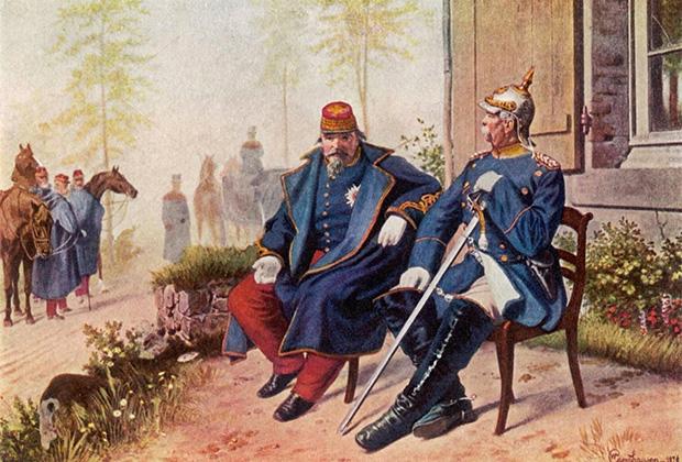 После заключения мирного договора с Германией бывший император французов Наполеон III был освобожден из плена и отправлен в изгнание в Великобританию, где умер в  январе 1873 года.