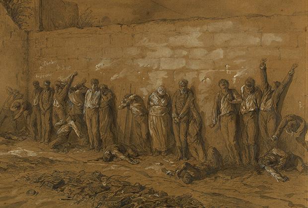 Анри Альфред Даржу «Расстрел коммунаров на кладбище Пер-Лашез 28 мая 1871 года»