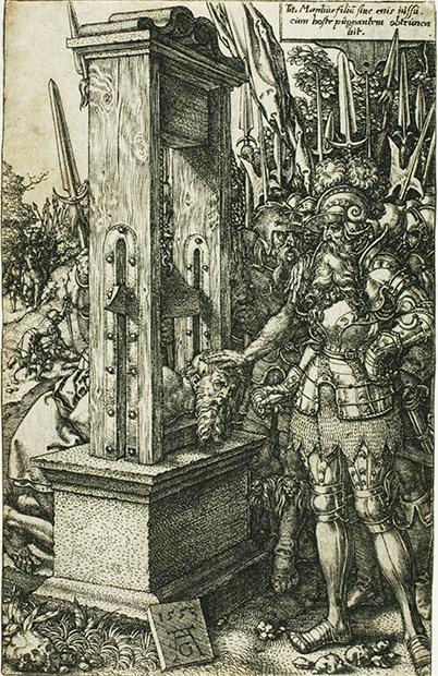 Римский консул Тит Манлий обезглавливает своего сына. Именно эта гравюра навела доктора Гильотена на удачную мысль