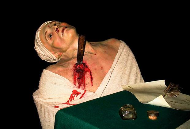 Смерть Марата, убитого Шарлоттой Корде. Экспозиция Музея мадам Тюссо (Лондон)