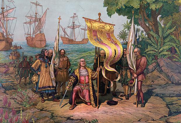 Эпоха великих географических открытий. Колумб объявляет открытую им землю собственностью испанского короля. Иллюстрация 1893 года
