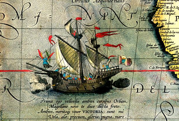 Каракка «Виктория». Фрагмент карты Ортелиуса 1590 года