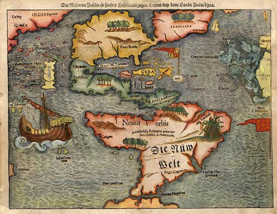 Карта 1561 года, на которой изображен американский континент