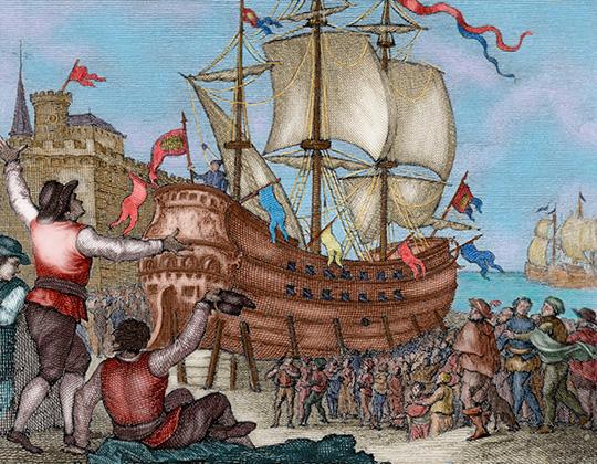 Каракка «Виктория» — первый корабль, обошедший вокруг света. Встречают в Севилье