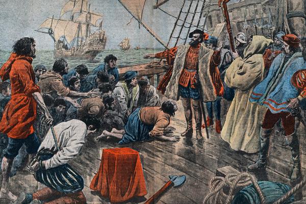 Бунтовщики умоляют Магеллана пощадить их после неудачного мятежа
