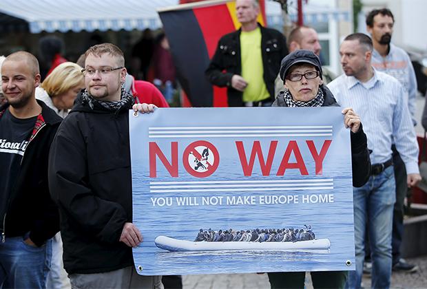 Протесты против мигрантов в городе Ризе, 2015 год