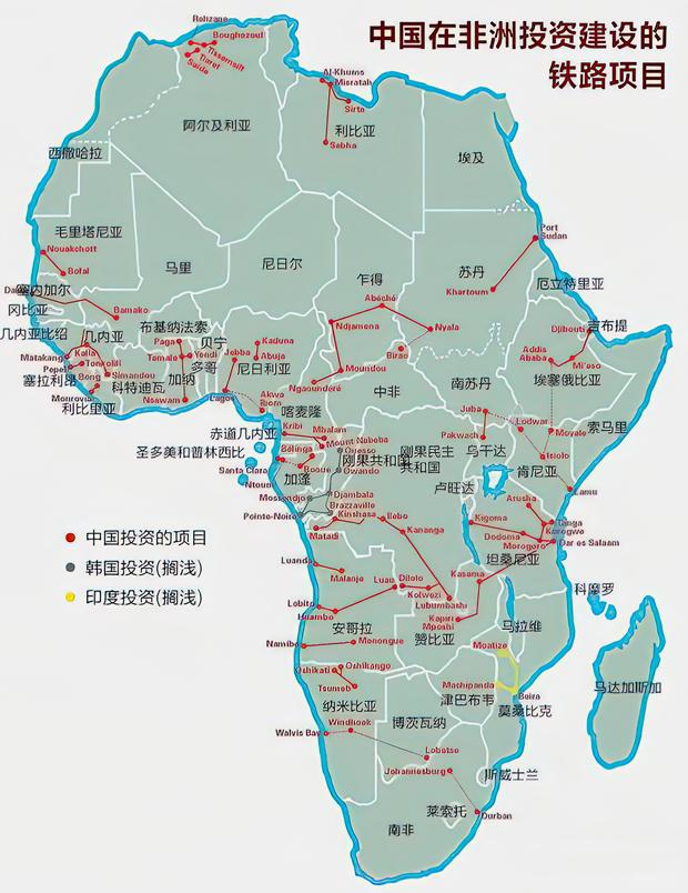 План инвестиций Китая в постройку железных дорог в Африке. Красными линиями отмечена уже построенная или находящаяся в процессе строительства инфраструктура