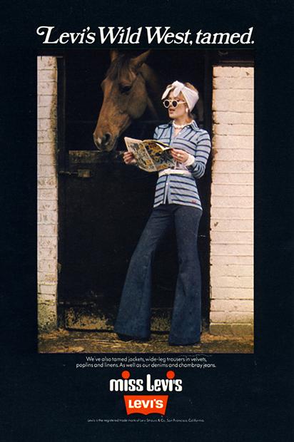Реклама джинсов клеш марки Levi's, 1970-е годы