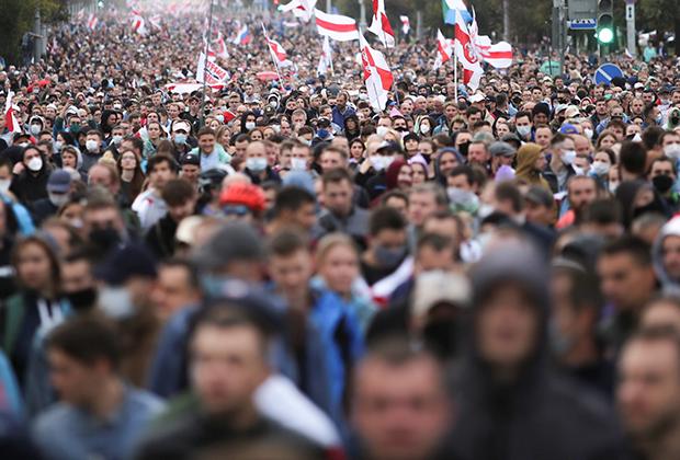 Митинг сторонников оппозиции в Минске, 27 сентября 2020 года