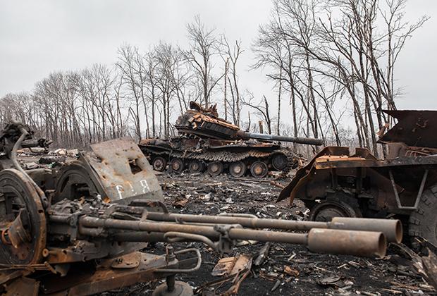Остатки украинского блокпоста в Дебальцеве
