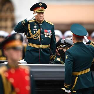 Олег Салюков во время парада Победы на Красной площади 9 мая 2021 года