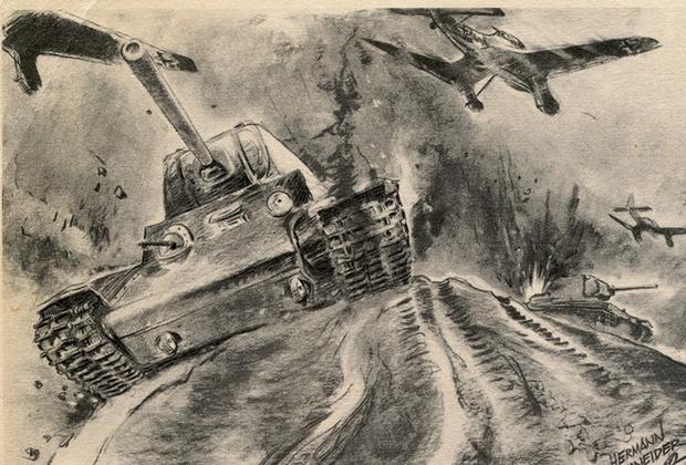 Немецкие штурмовики атакуют советские танки, оставшиеся без прикрытия с воздуха. Немецкая открытка 1941-1942 годов