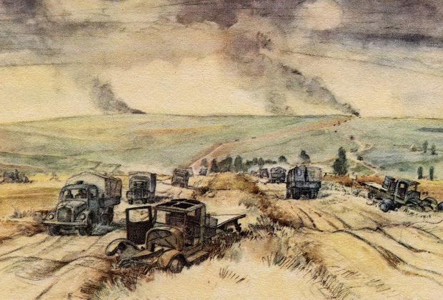 Дороги войны летом 1941 года. Немецкая открытка 1941-1942 годов