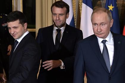 Владимир Путин, Эммануэль Макрон и Владимир Зеленский (справа налево)