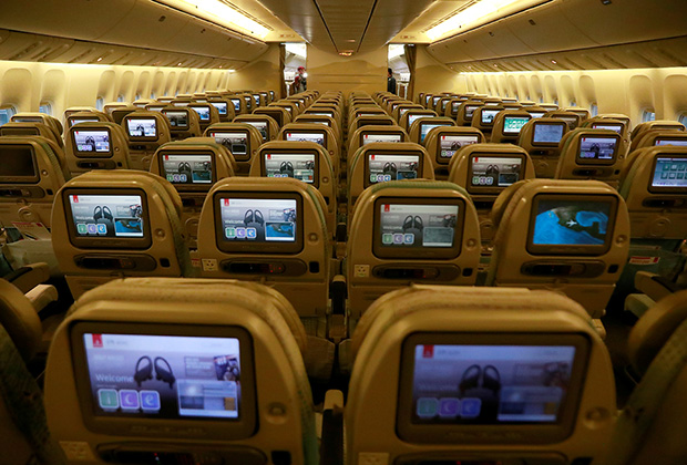 A view of the economy class cabin inside an Emirates Airline Boeing 777-200LR plane following its arrival at Mexico City International Airport during its first route from Dubai via Barcelona to Mexico City, Mexico, December 9, 2019. REUTERS/Henry Romero