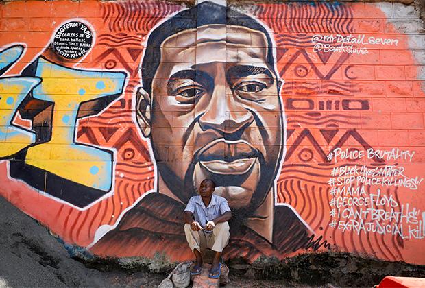 Граффити с убитым Джорджем Флойдом в Найроби, Кения