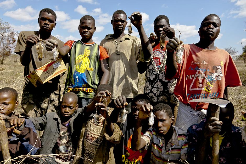 Крысоловы из деревни Мадамба после удачной охоты