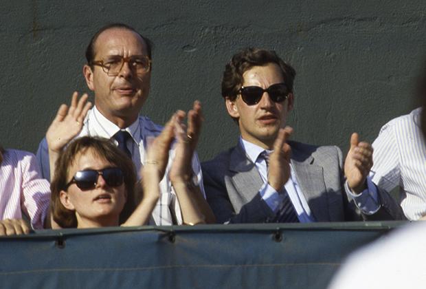 Жак Ширак, Николя Саркози и дочь Жака Ширака Клод Ширак на теннисном турнире «Ролан Гаррос», Париж, 1985 год