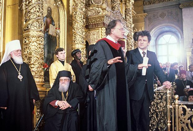 Выступление американского проповедника Билли Грэма на Божественной литургии в Богоявленском соборе. 1992 год