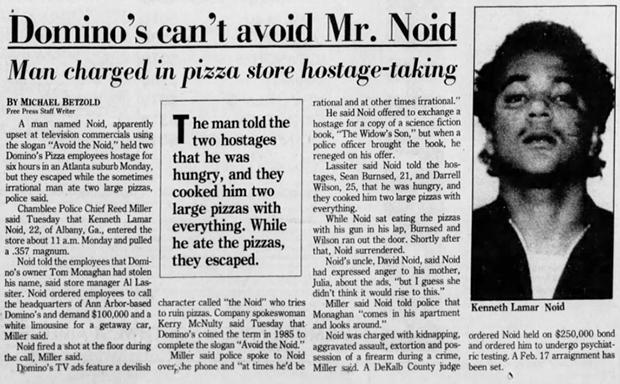 Заголовок газеты: «Domino's не спаслась от мистера Нойда»