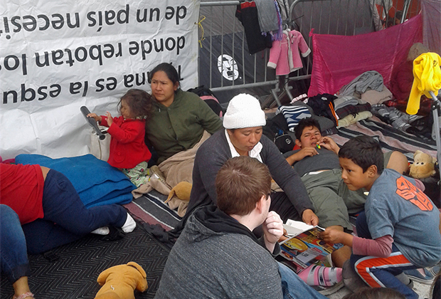 В лагере мигрантов в мексиканской Тихуане