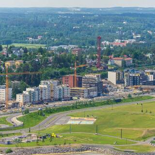 Вид на город Тампере в Финляндии