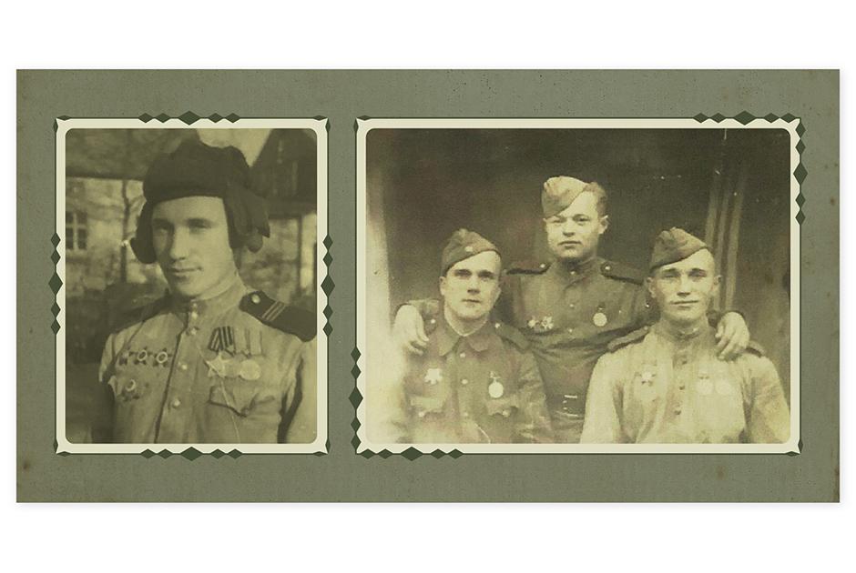 Тут мой родной дедушка, Василий Степанович Шиков, заслуженный фронтовик. А справа он с боевыми товарищами