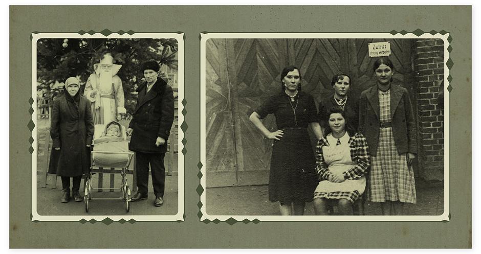 На фото слева: бабушка, посередине я в коляске, а справа второй бабушкин муж, поляк Йозеф Здановский. А справа фотография из Германии с распределительного пункта. Здесь в середине моя баба Вера