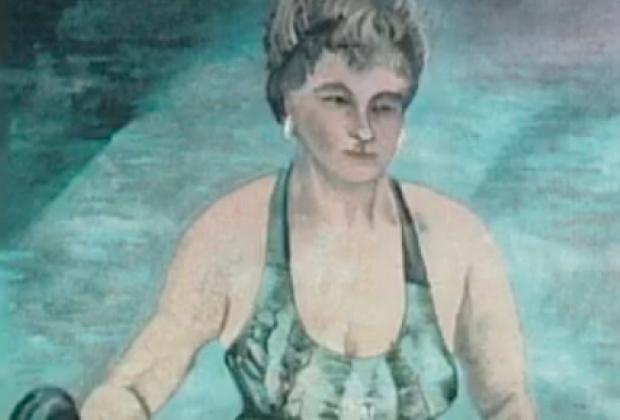 Фрагмент фото написанной маслом картины, присланной Элейн Пэрент в полицию