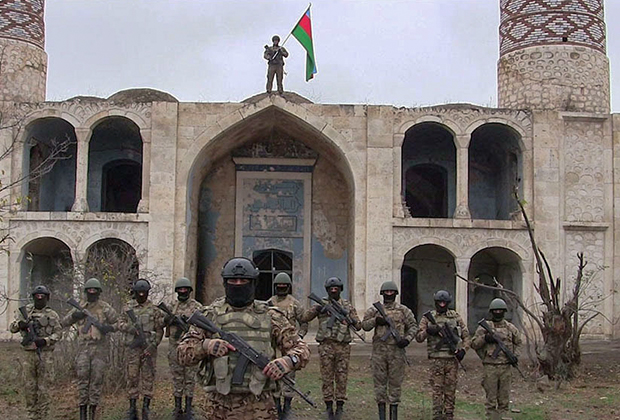 Азербайджанские солдаты вошли в Агдам, Нагорный Карабах, ноябрь 2020 года