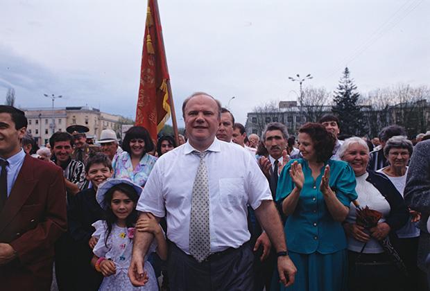 Поездка кандидата на пост президента РФ Геннадия Зюганова по городам России. Во время пребывания в Нальчике
