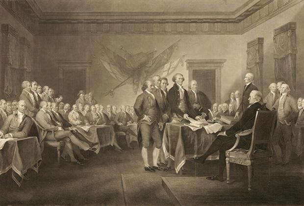 Гравюра с картины Джона Трамбулла «День независимости 4 июля 1776 года», 1876 год