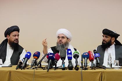 Представители делегации политического офиса движения «Талибан» на пресс-конференции в Москве