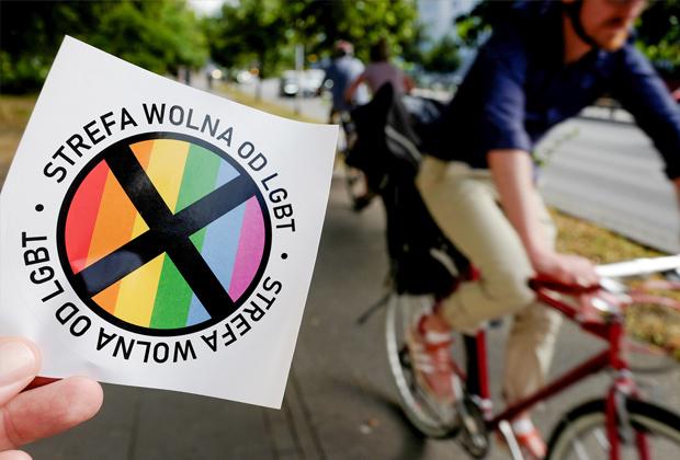 Наклейка с надписью «Зона, свободная от ЛГБТ», Варшава
