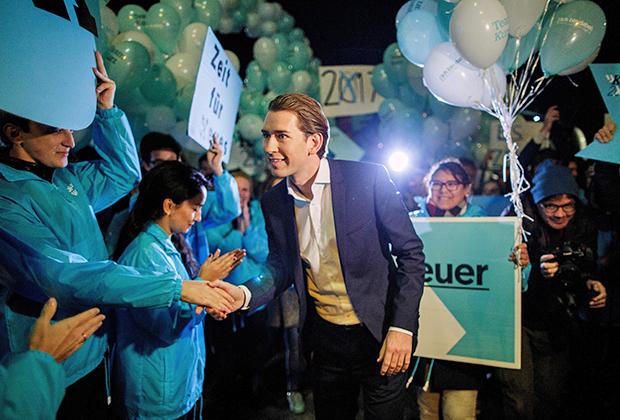 Себастьян Курц во время своей предвыборной кампании в октябре 2017 года