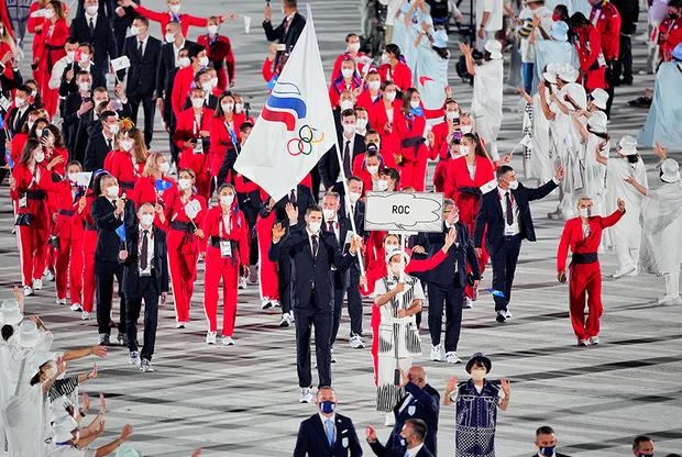 Сборная ОКР во время парада спортсменов