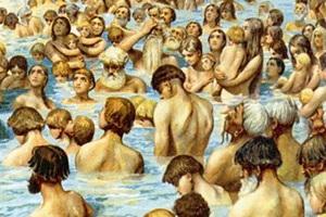 Крещение киевлян. Картина Клавдия Лебедева