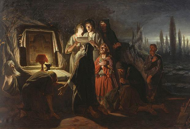 Первые христиане в Киеве.  Картина Василия Перова