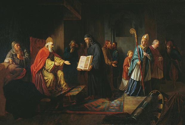 Князь Владимир избирает религию. Картина Ивана Эггинка