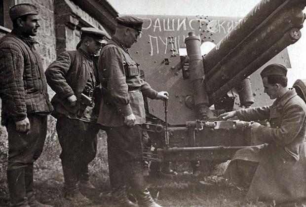 Захваченные трофейные пушки, сентябрь 1941 года